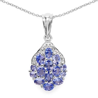 Malaika .925 Sterling Silver 2 1/10ct Genuine Tanzanite and White Diamond Pendant