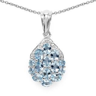 Malaika .925 Sterling Silver 2 1/10ct Genuine Aquamarine and White Diamond Pendant
