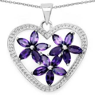 Malaika .925 Sterling Silver 2 1/4ct TGW Genuine Amethyst Heart Shape Pendant