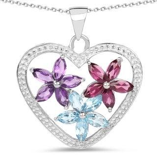 Olivia Leone .925 Sterling Silver 2 1/2ct TGW Genuine Amethyst, Swiss Blue Topaz and Rhodolite Heart Shap