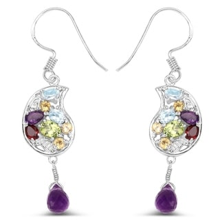 Olivia Leone .925 Sterling Silver 4 1/10ct TGW Multi Gemstones Dangling Earrings