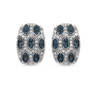 Malaika .925 Sterling Silver 1/2ct TDW Blue and White Diamond Earrings