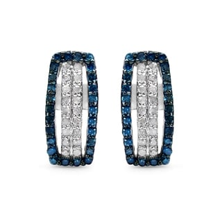 Malaika .925 Sterling Silver 1/2ct TDW Genuine Blue Diamond and White Diamond Earrings