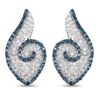 Malaika .925 Sterling Silver 1ct TDW Genuine Blue Diamond and White Diamond Earrings