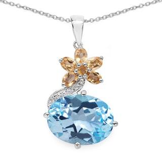 Olivia Leone .925 Sterling Silver 13 1/10ct TGW Genuine Blue Topaz and Citrine Pendant