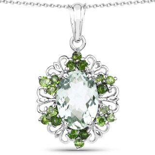 Olivia Leone .925 Sterling Silver 6 3/5ct TGW Genuine Green Amethyst and Chrome Diopside Pendant