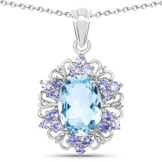 Olivia Leone .925 Sterling Silver 8 4/5ct TGW Genuine Blue Topaz and Tanzanite Pendant
