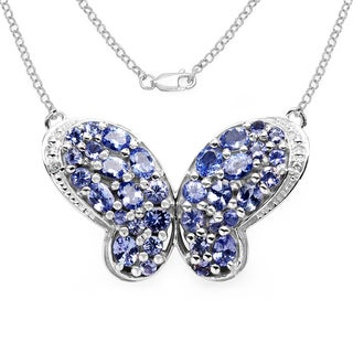 Olivia Leone .925 Sterling Silver 3 1/5ct TGW Genuine Tanzanite and White Topaz Butterfly Shape Pendant