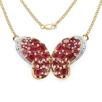 Olivia Leone 14k Yellow Goldplated .925 Sterling Silver 4 5/8ct TGW Genuine Ruby and White Topaz Butterfl