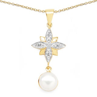 Malaika Goldplated .925 Sterling Silver 2 3/4ct TGW Pearl and Cubic Zirconia Pendant