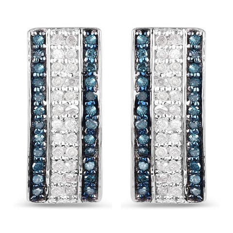 Malaika Sterling Silver 1/2ct TDW Blue and White Diamond Earrings