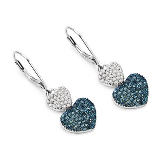 Malaika .925 Sterling Silver 1ct TDW Blue and White Diamond Heart Shape Earrings