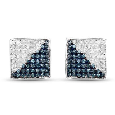 Malaika Sterling Silver 3/4ct TDW Blue and White Diamond Earrings