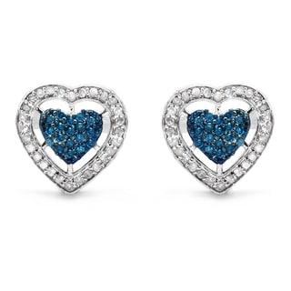 Malaika .925 Sterling Silver 1/2ct TDW Blue and White Diamond Heart Shape Earrings