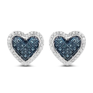 Olivia Leone .925 Sterling Silver 1/2ct TDW White and Blue Diamond Heart Shape Earrings
