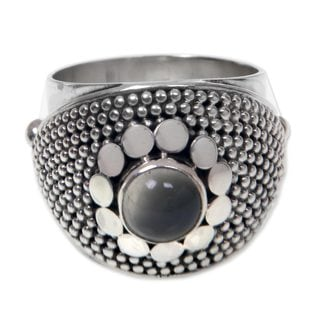 Handmade Sterling Silver 'Moonbeams' Moonstone Ring (Indonesia)