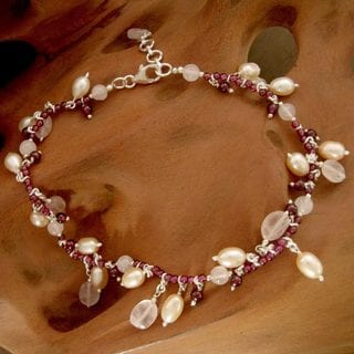 Silver 'Dancing Rose' Pearl Multi-gemstone Anklet (8 mm) (India)