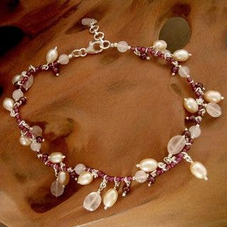 Handmade Silver 'Dancing Rose' Pearl Multi-gemstone Anklet (8 mm) (India)|https://ak1.ostkcdn.com/images/products/10497628/P17587735.jpg?impolicy=medium