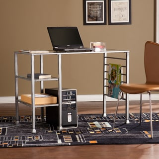 Harper Blvd Distressed Silver Metal and Glass Writing Desk