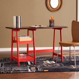 Harper Blvd Red and Espresso Polaris Desk