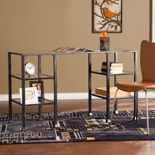 Harper Blvd Distressed Black Metal and Glass Desk