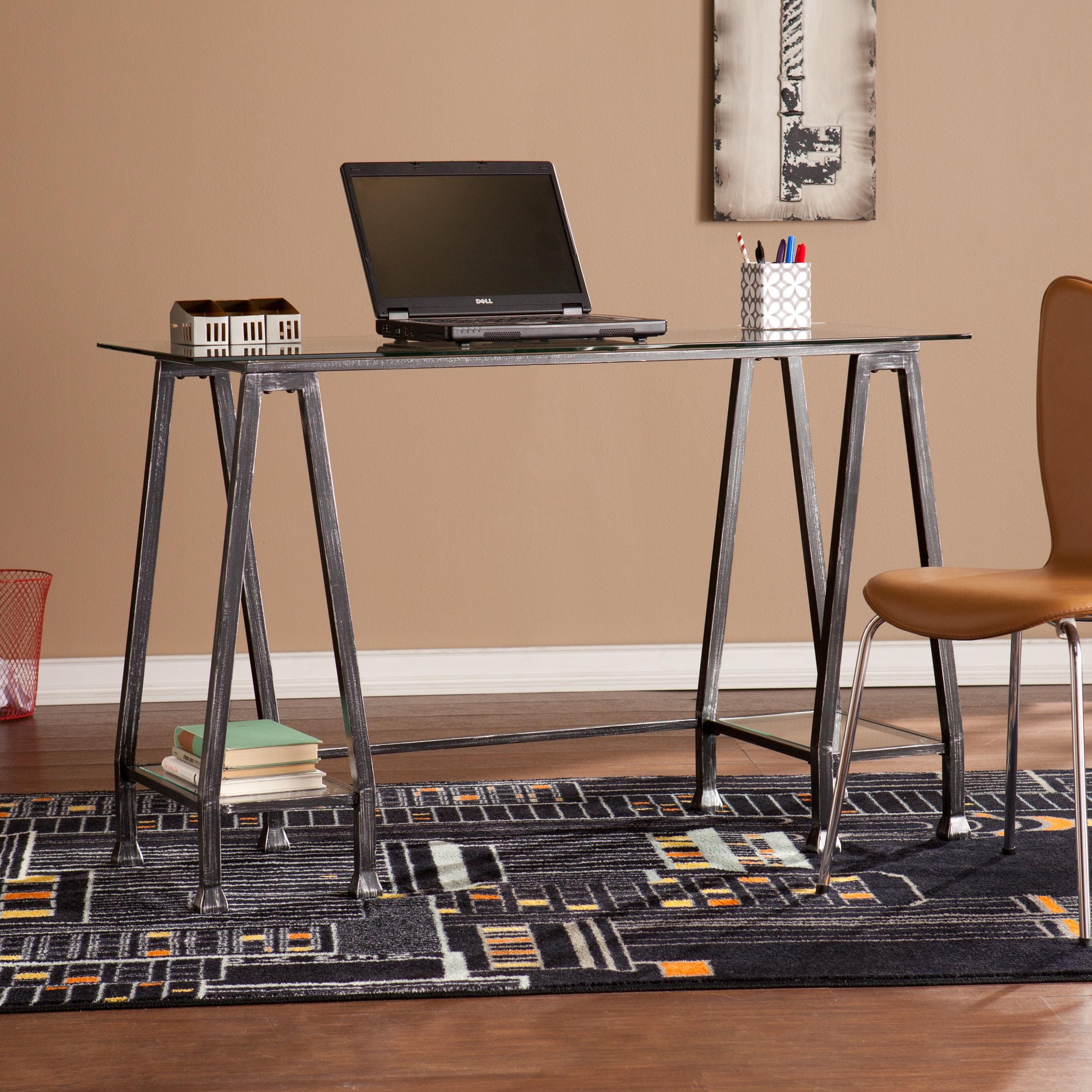 Carbon Loft Friese Greene Distressed Black Metal And Glass A Frame Desk