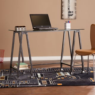 Harper Blvd Distressed Black Metal and Glass A-Frame Desk