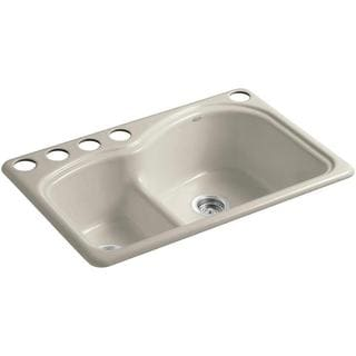 KOHLER Woodfield Smart Divide Undercounter Cast Iron 33 in. 5-Hole Double Bowl Kitchen Sink in Sandbar