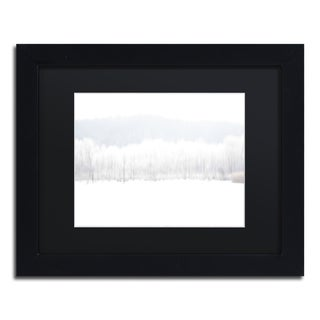 Kurt Shaffer 'Abstract Winter Beaver Marsh' Black Matte, Wood Framed Wall Art