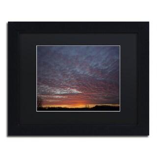 Kurt Shaffer 'Amazing Winter Sunset' Black Matte, Wood Framed Wall Art