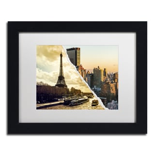 Philippe Hugonnard 'Sunset in Paris and New York' Black Matte, Wood Framed Wall Art