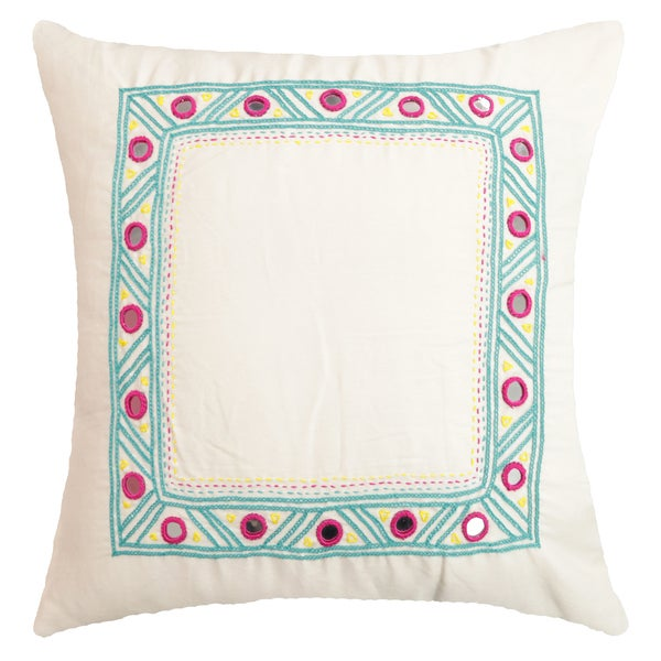 Turqouise Mirrors Hand-crafted Spun by Welspun 16-inch Throw Pillow