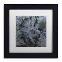 Kurt Shaffer 'Frost Star' White Matte, Black Framed Wall Art