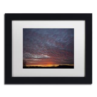 Kurt Shaffer 'Amazing Winter Sunset' White Matte, Black Framed Wall Art