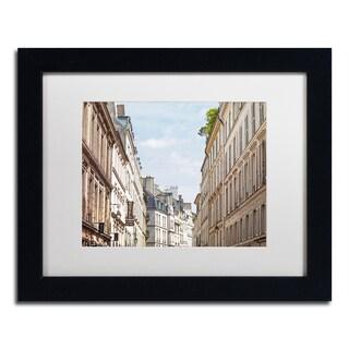Preston 'Parisian Buildings' White Matte, Black Framed Wall Art