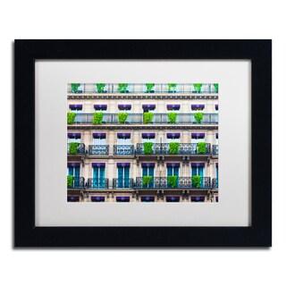 Preston 'Parisian Apartments' White Matte, Black Framed Wall Art