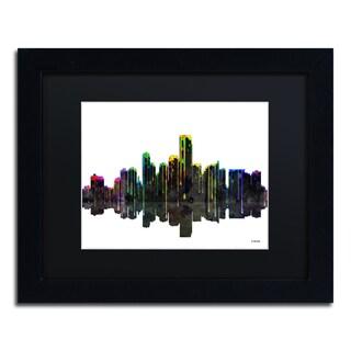 Marlene Watson 'Jersey City New Jersey Skyline II' Black Matte, Black Framed Wall Art