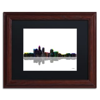Marlene Watson 'Des Moines Iowa Skyline II' Black Matte, Wood Framed Wall Art