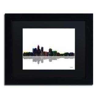 Marlene Watson 'Des Moines Iowa Skyline II' Black Matte, Black Framed Wall Art