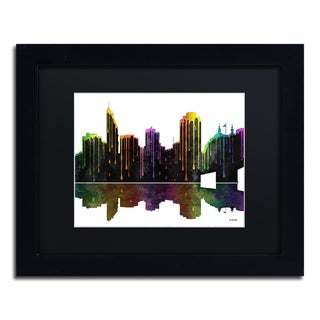Marlene Watson 'Cincinatti Ohio Skyline II' Black Matte, Wood Framed Wall Art