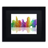 Marlene Watson 'Cincinatti Ohio Skyline' Black Matte, Black Framed Wall Art