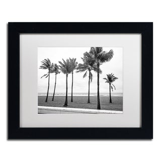 Preston 'Florida BW Beach Palms' White Matte, Black Framed Wall Art