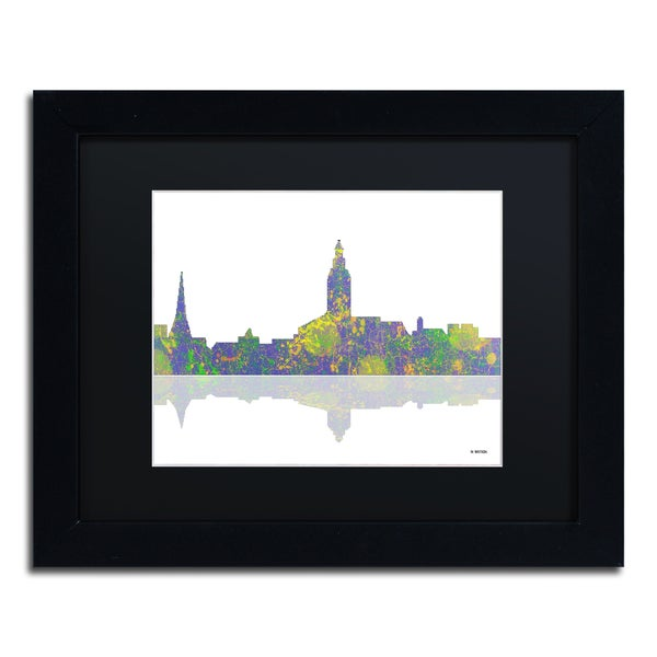 Marlene Watson 'Annapolis Maryland Skyline II' Black Matte, Black Framed Wall Art