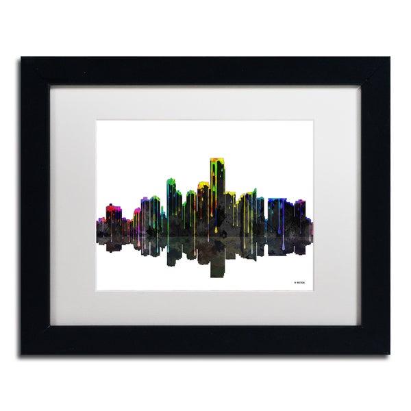 Marlene Watson 'Jersey City New Jersey Skyline II' White Matte, Black Framed Wall Art - White Matte/Black Frame