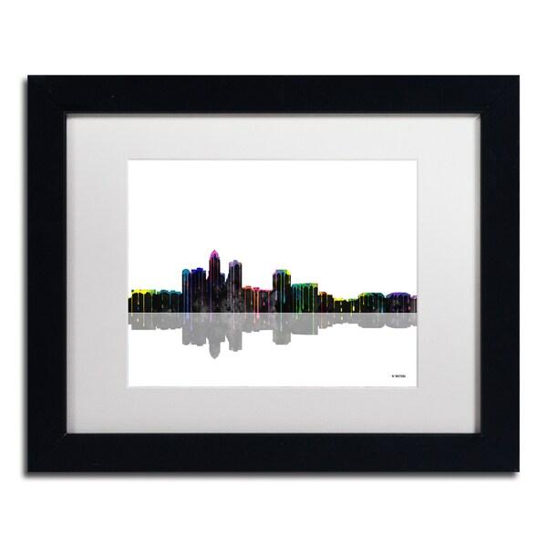 Marlene Watson 'Des Moines Iowa Skyline II' White Matte, Black Framed Wall Art
