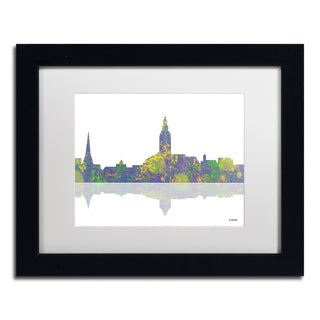Marlene Watson 'Annapolis Maryland Skyline II' White Matte, Black Framed Wall Art