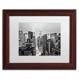 Preston 'New York Skyline 2' White Matte, Black Framed Wall Art