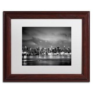 Preston 'New York Skyline' White Matte, Black Framed Wall Art