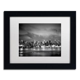 Preston 'New York Skyline' White Matte, Black Framed Wall Art