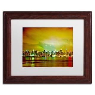 Preston 'City Skyline' White Matte, Wood Framed Wall Art